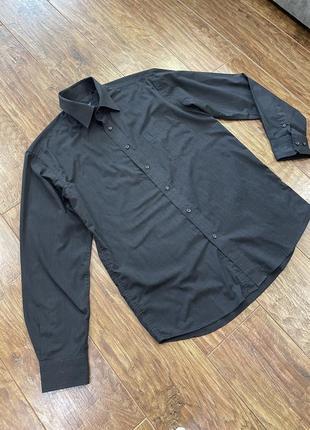 Фирменная мужская чёрная рубашка 2в1: запонка и обычная