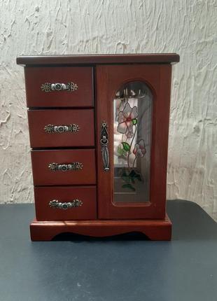 Деревянная шкатулка шкаф комодик с зеркалом