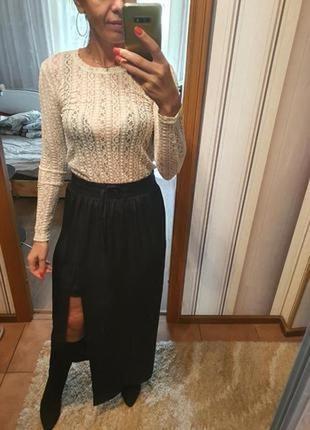 Стильная длинная юбка с разрезом спереди размер 10, с-м