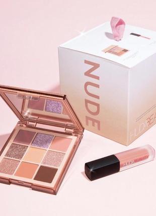 Набор палетка + матовый блеск huda beauty nude light