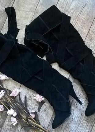 Идеальные сапоги-ботфорты замшевые от roberto della croce италия-35р