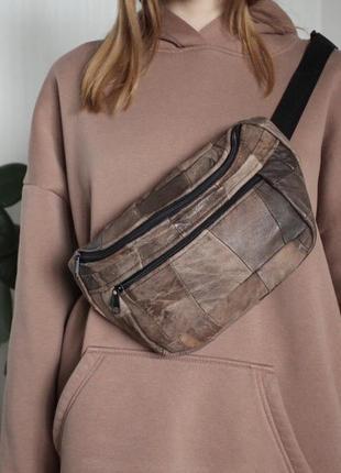 Кожаная сумка через плечо,на грудь,пояс кожаная из лоскутов унисекс б30