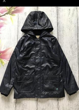 Крутая тёплая куртка на флисовый подкладке дождевик с капюшоном dp размер 10лет