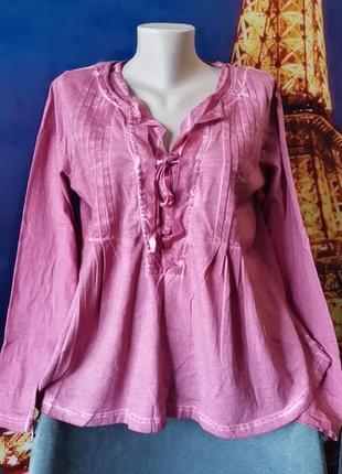 Невероятная блуза большого размера с волнами и рюшами, натуральный материал