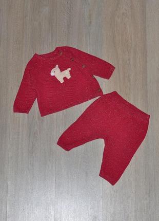 Вязаный костюм mothercare 3-6 мес. кофта кофточка штаны кардиган комплект набор теплый