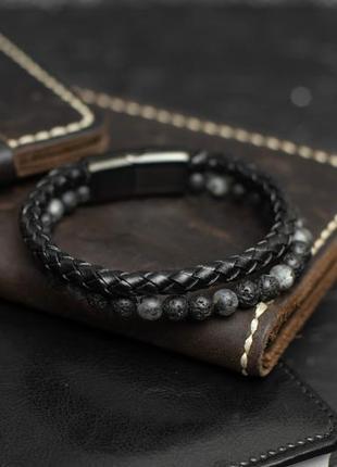Стильный мужской браслет с камнем