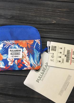 Карманный кошелёк синего цвета с цветами