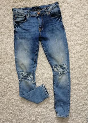 Классные мужские рваные джинсы слим smog 31/32 в очень хорошем состоянии