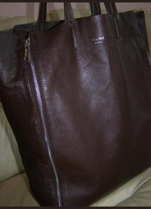 Vip! дом мод celine! шикарная большая кожаная сумка - 100% натуральная кожа наппа