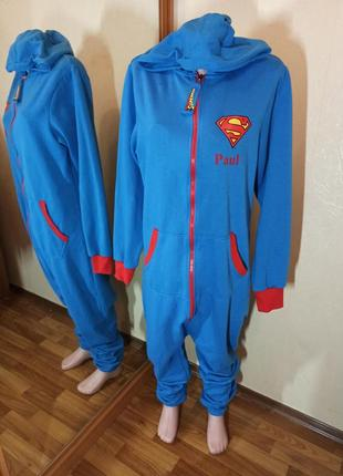 Кенгуруми пижама теплая с капюшоном супермэн