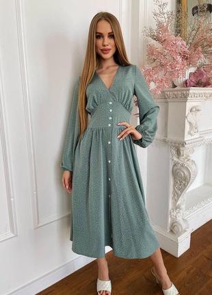 Романтическое платье, р.42,44,46, софт, оливковый