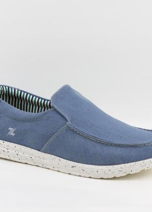 Мужские туфли, мокасины слипоны премиум ziano h006054р. 40-46р. голубые