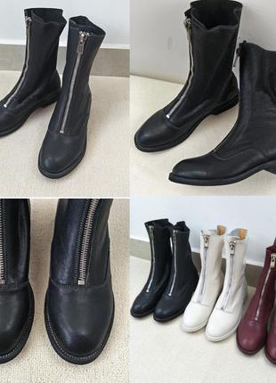 Крутые кожаные ботинки со змейкой
