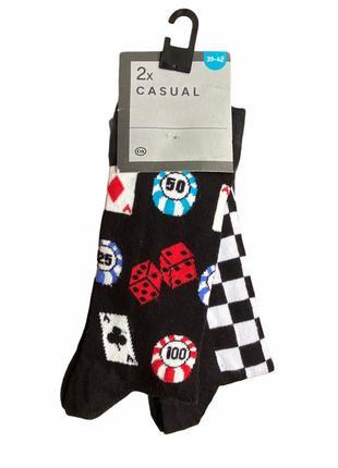 Комплект 2 пары. яркие хлопковые носки с принтом, c&a casual, 39-42