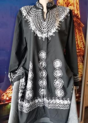 Изумительная восточная туника, платье свободного кроя, удлинённая рубашка с вышивкой