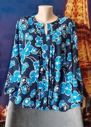 Шикарная яркая блуза в цветы  большого размера