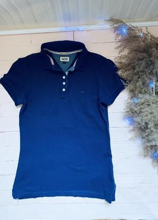 Оригинальная футболка tommy hilfiger томми хилфигер синяя базовая поло polo 👚
