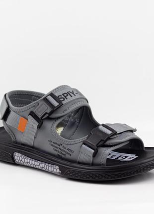 Мужские босоножки сандалии премиум класса ziano j000678 р. 40-46 черно-серые