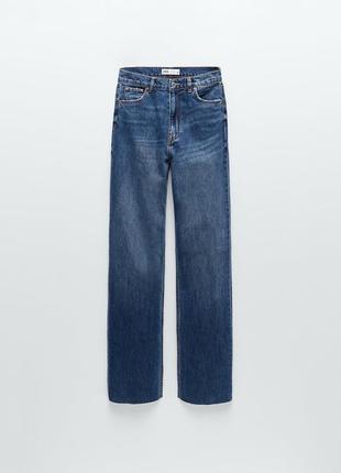 Шикарные широкие джинсы трубы прямого кроя полной длины от zara оригинал