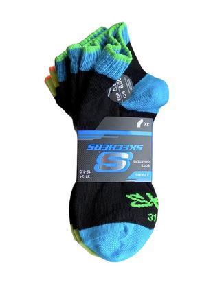 Комплект 3 пары. фирменные короткие хлопковые носки sketchers, 27-30, 31-34.