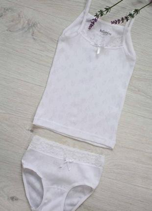 Комплект двойка для девочки из натуральной ткани с ажурными сердечками ketamino