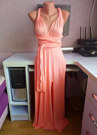 Платье трансформер персиковое