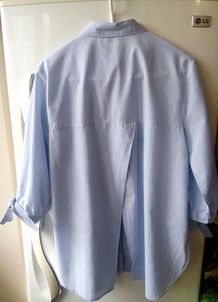 Голубая удлиненная хлопковая рубашка, 36-38