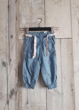 Джинсы штаны широкие голубые  хлопок 1-2 года