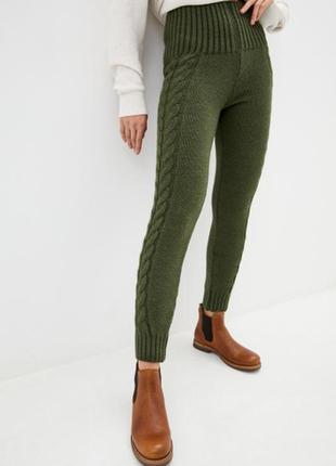 Лосины, брюки вязаные оливка