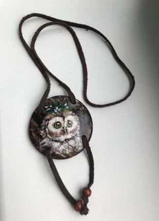 Фолк, бохо украшение из дерева, подвеска