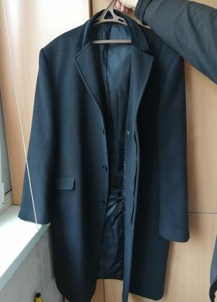 Пальто мужское черное шерстяное длинное stella , 58 р.