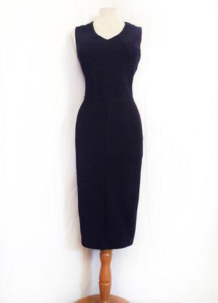 Красивое темно синее фактурное платье