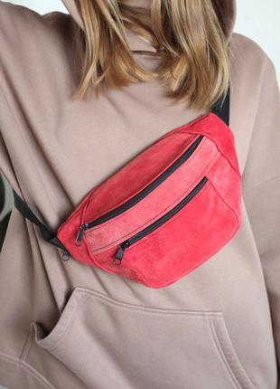 Яркая красная унисекс бананка барсетка эко-сумка замшевая с длинными ручками б44