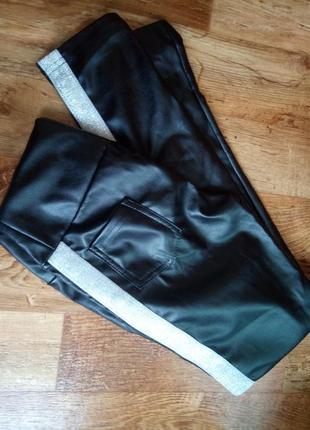 Кожаные лосины с серебряными вставками  46 размер, новые