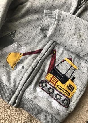 Тёплая кофта меховушка на меху с трактором4 фото