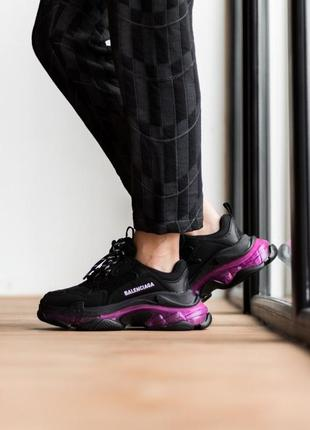 Женские кроссовки triple s clear sole purple neon