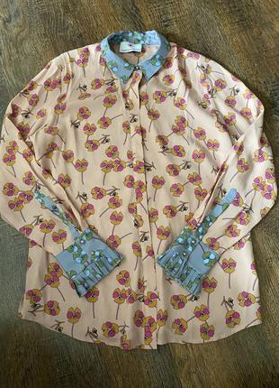 Шелковая блуза в цветочный принт herzen's angelegenheit брендовая блуза из шелка