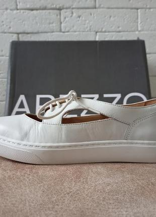 Arezzo женские белые кожаные туфли на шнурках5 фото