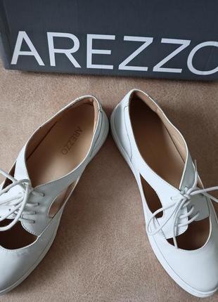 Arezzo женские белые кожаные туфли на шнурках2 фото