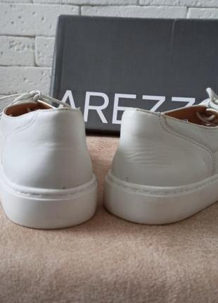 Arezzo женские белые кожаные туфли на шнурках4 фото
