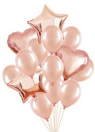 Набор шаров розовое золото