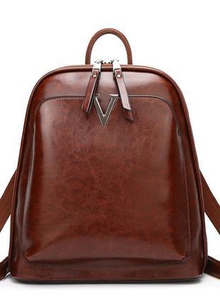 Кожаный коричневый рюкзак