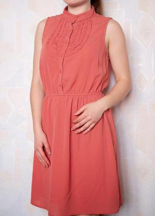 Коралловое платье под резинку