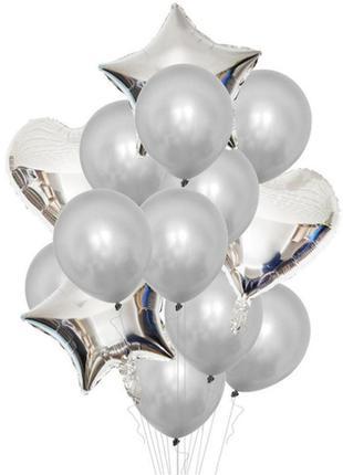 Набор шаров для фотозоны серебро