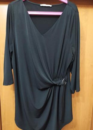 Батал большой размер брендовая стильная модная черная блуза блузка туника удлиненная кофта