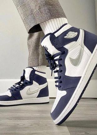 Топовые базовые кроссовки деми женские nike air jordan retro 1 high navy blue