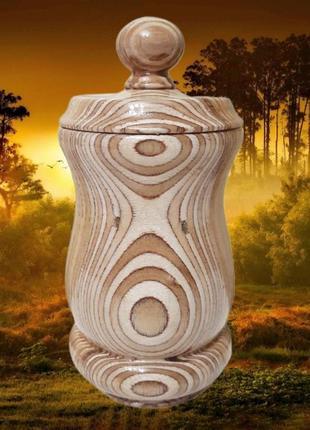 Фигурная деревянная коробка-сахарница, ручная работа