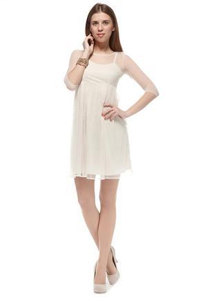 Воздушное платье бежевое комбинированное