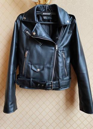 Классическая кожаная куртка косуха zara размер m