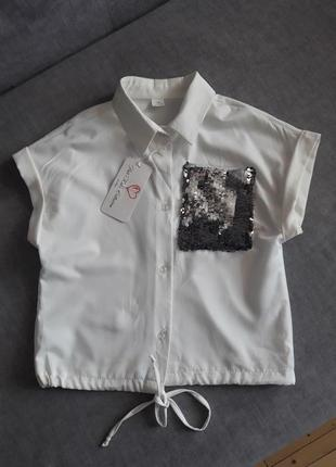 Стильная рубашка с паетками на шнурке
